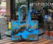 ヴァレンティノ 偽物 オシャレ 人気 VALENTINO バッグ レディース カモ レザー トートバッグ 迷彩柄 ハンドバッグ  スバイク バッグ ブルー