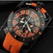 最安値2018 GaGa MILANO クロノ48MM メンズ ガガミラノ時計 腕時計 日付表示 回転ベゼル ブラック ケース オレンジ ラバー メンズ レディース ウォッチ