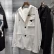 高級的な秋冬トレンドを演出 ジャケット PRADA 通販 メンズ プラダ スーパーコピー シンプル ロゴ入り 黒白2色 おしゃれ 激安