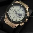 自動巻き 5針 Hublotウブロ メンズ腕時計 日付表示 サファイヤクリスタル風防 ゴールド ラバー