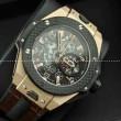 Hublotウブロ メンズ腕時計 日本製クオーツ 4針クロノグラフ 日付表示 サファイヤクリスタル風防 43.3MM