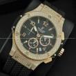 Hublotウブロ メンズ腕時計 日本製クオーツVK 日付表示 ラバー サファイヤクリスタル風防 ダイヤベゼル ゴールド