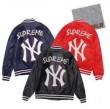 2017秋冬 SUPREME コピー x New York Yankees シュプリーム ジャケット ネイビー ブラック レッド 大人気 Leather Varsity Jacket レザーバーシティージャケット