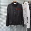 プラダ ジャケット メンズ 高いデザイン性が魅力 PRADA コピー 限定通販 ブラック ホワイト 軽快 シンプル ストリート 最安値